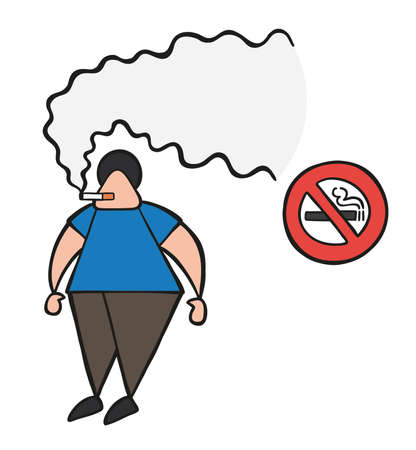 Vector illustration cartoon man character smoking cigarette beside no smoking sign. Ilustracja