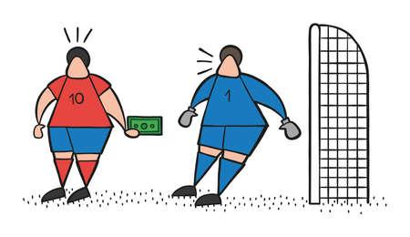 Vector illustration cartoon soccer player man offering bribe to goalkeeper. 일러스트