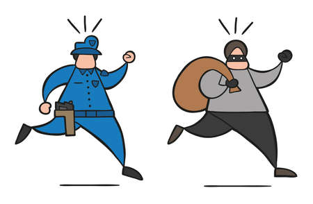 Vector illustration cartoon thief man with face masked running away from police and carrying sack.