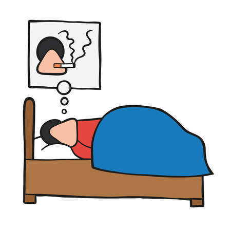 Vector illustration cartoon man character sleeping and smoking cigarette in his dream. Ilustracja