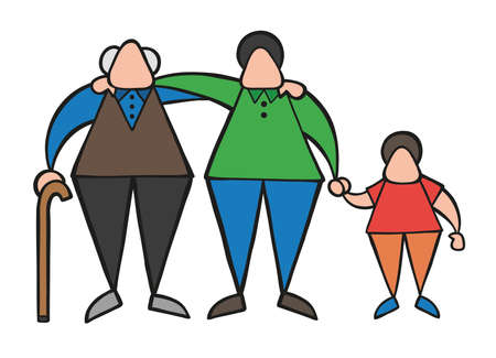 Vector illustration cartoon old man standing with walking stick, hugging his son and grandson.