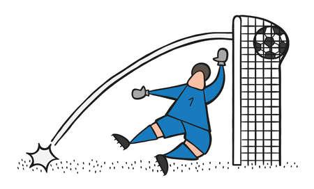 Vector illustration cartoon soccer player man Stock Illustratie