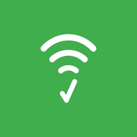 Flat vector icon concept of wireless wifi symbol with check mark on green background. Stock Illustratie