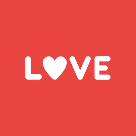Flat vector icon concept of love word with heart on red background. Ilustração