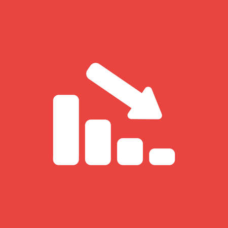 Flat vector icon concept of sales bar graph moving down on red background. Stock Illustratie
