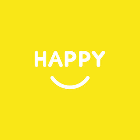 Flat vector icon concept of happy word with smiling mouth on yellow background.  イラスト・ベクター素材