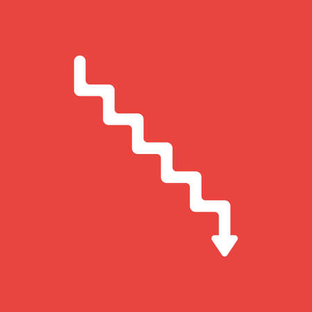 Flat vector icon concept of stairs with arrow moving down on red background. Stok Fotoğraf - 104072881