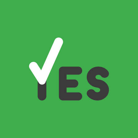 Flat vector icon concept of yes word with check mark on green background.