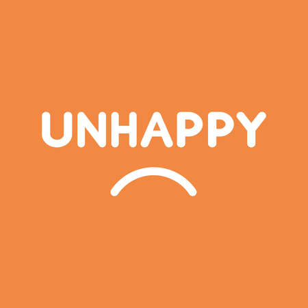 Flat vector icon concept of unhappy word with sulking mouth on orange background.