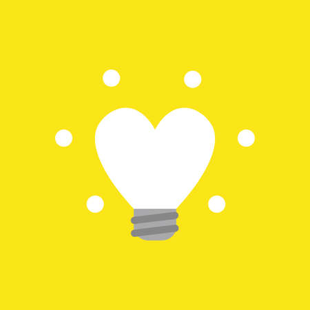 Flat vector icon concept of glowing heart-shaped light bulb on yellow background.