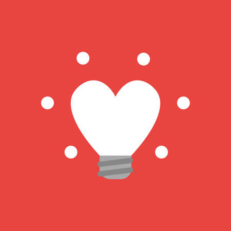 Flat vector icon concept of glowing heart-shaped light bulb on red background.