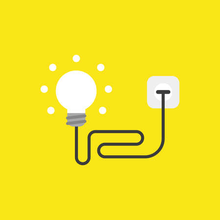 Flat vector icon concept of glowing ligh bulb with cable, plugged into outlet on yellow background. Illustration