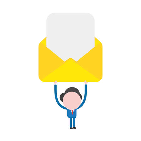 Vector illustration of faceless businessman character holding up open yellow mail envelope with blank paper. Ilustrace