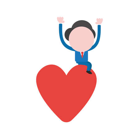 Vector illustration of faceless businessman character sitting on red heart.