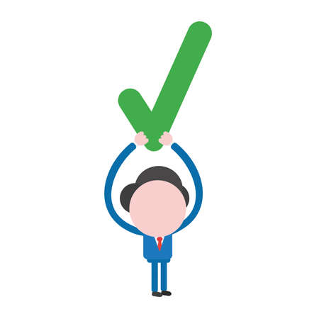 Vector illustration of faceless businessman character holding up check mark.