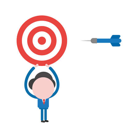 Vector illustration of faceless businessman character holding up bulls eye with dart.