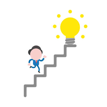 Vector illustration of faceless businessman character running glowing yellow light bulb idea at top of stairs.