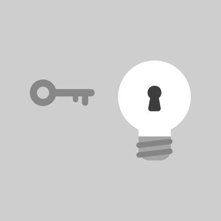 Flat vector icon concept of key and light bulb with keyhole on grey background.