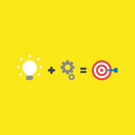 Flat vector icon concept of glowing light bulb plus gears equals bulls eye and dart in the center on yellow background.