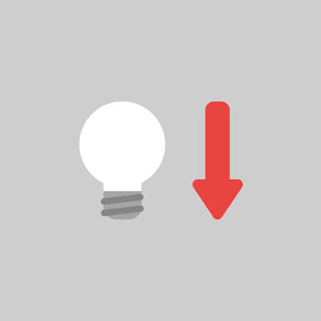 Flat vector icon concept of light bulb with arrow moving down on grey background.