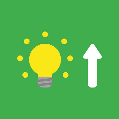 Flat vector icon concept of glowing yellow light bulb with arrow moving up on green background.
