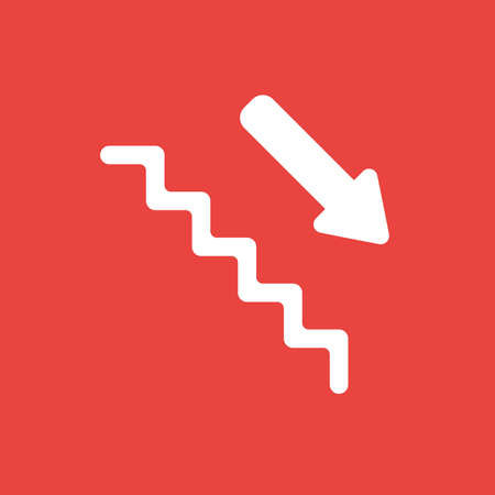 Flat vector icon concept of stairs with arrow moving down on red background. Ilustrace