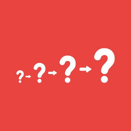 Flat vector icon concept of question marks growing on red background.