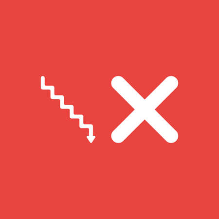 Flat vector icon concept of stairs with arrow moving down and x mark on red background.
