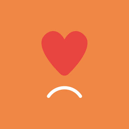 Flat vector icon concept of red heart with sulking mouth on orange background. Illustration