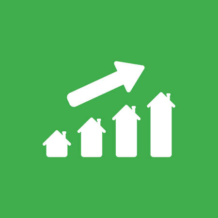 Flat vector icon concept of house graph moving up on green background. Reklamní fotografie - 105578891