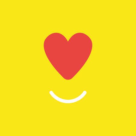 Flaches Vektorikonenkonzept des roten Herzens mit lächelndem Mund auf gelbem Hintergrund. Vektorgrafik