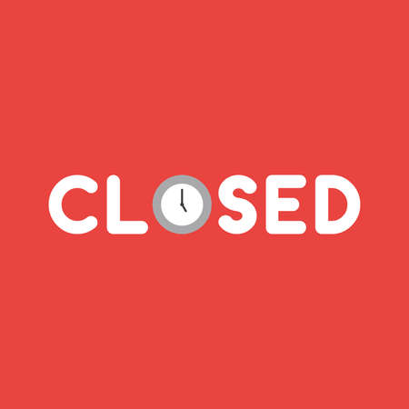 Flat vector icon concept of closed word with clock on red background. Illustration