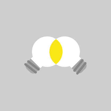 Flat vector icon concept of two light bulbs unite on grey background.