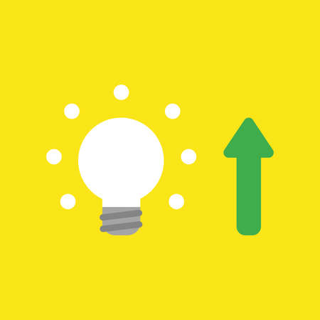 Flat vector icon concept of glowing light bulb with arrow moving up on yellow background.