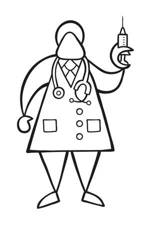 Vector illustration cartoon doctor man with stethoscope and standing, holding syringe ready for injection. Illustration