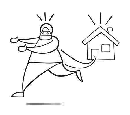 Vector illustration cartoon thief man with face masked running away from house.