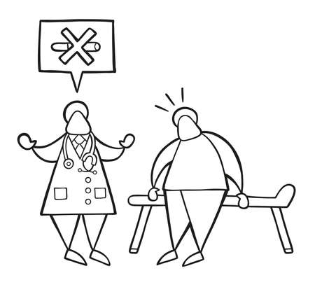 Vector illustration cartoon doctor man with his patient and saying no smoking with speech bubble. Vetores
