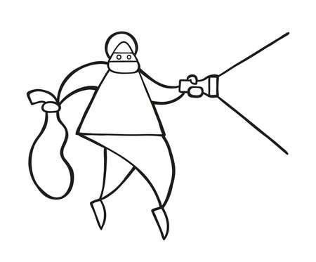 Vector illustration cartoon thief man with face masked walking and holding flashlight and sack.