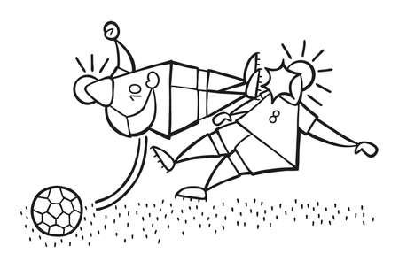 Vector illustration dessin animé joueur de football agressif homme battant coup de pied au visage d'un autre joueur de football.