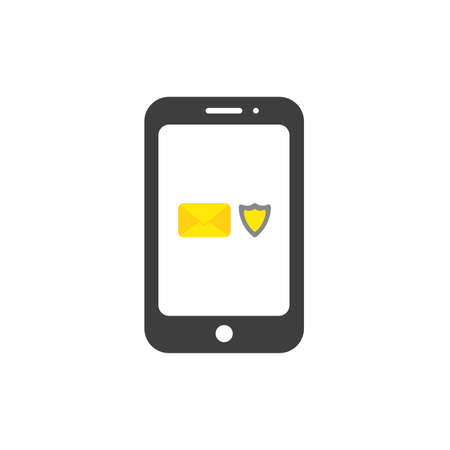 Vector illustration concept of closed envelope with shield guard inside black smartphone icon.