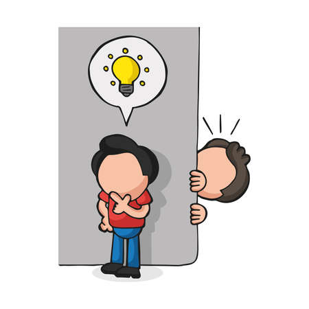 Illustration de dessin animé dessinée à la main de vecteur de l'homme espionnant l'homme avec une idée d'icône ampoule derrière le mur. Vecteurs
