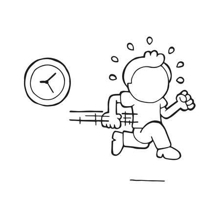 Ilustración de dibujos animados dibujados a mano de vector de hombre que llega tarde con el reloj.