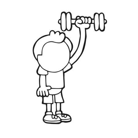 Illustrazione del fumetto disegnato a mano di vettore dell'uomo in piedi che pompa i manubri