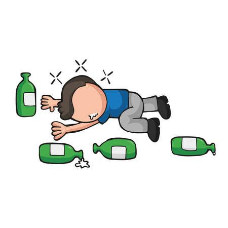 Vector hand-drawn cartoon illustration of drunk man lying on floor with empty beer bottles.