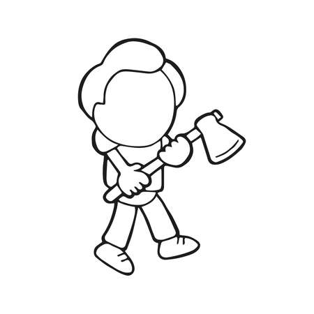 Vector hand-drawn cartoon illustration of lumberjack man holding axe walking.