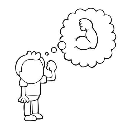 Illustrazione del fumetto disegnato a mano di vettore dell'uomo in piedi che sogna di essere muscoloso.