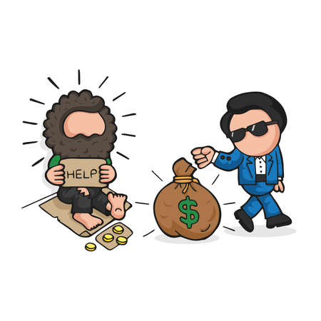 Vector hand-drawn cartoon illustration of rich man giving money bag to homeless on sidewalk and homeless is shocked.