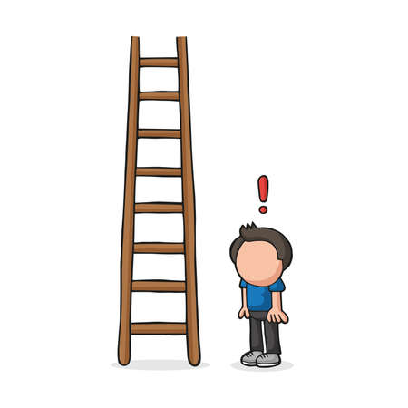 Vector hand-drawn cartoon illustration of man looking wooden ladder with exclamation mark. Illustration