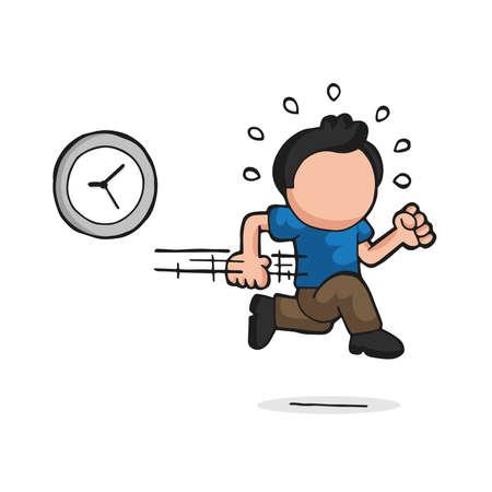Vector hand-drawn cartoon illustration of man running late with clock.