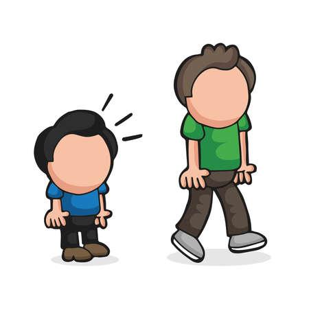 Illustrazione del fumetto disegnato a mano di vettore dello sguardo dell'uomo basso e dell'uomo alto di invidia.